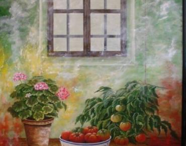 Bodegón con geraneo y tomates